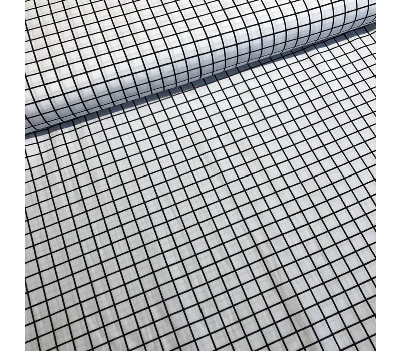 Katoen mini grid white