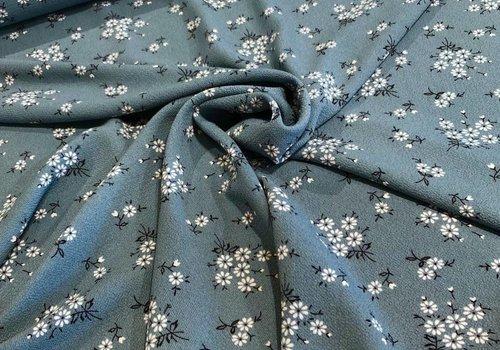 De Stoffenkamer Soft blouse Petrolgrey flowers