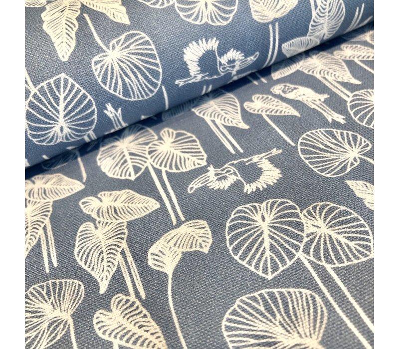 Cotton canvas lightblue jungle