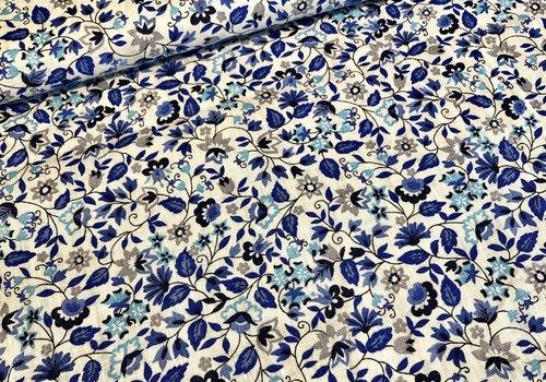 De Stoffenkamer Washed Linen Blue flowers