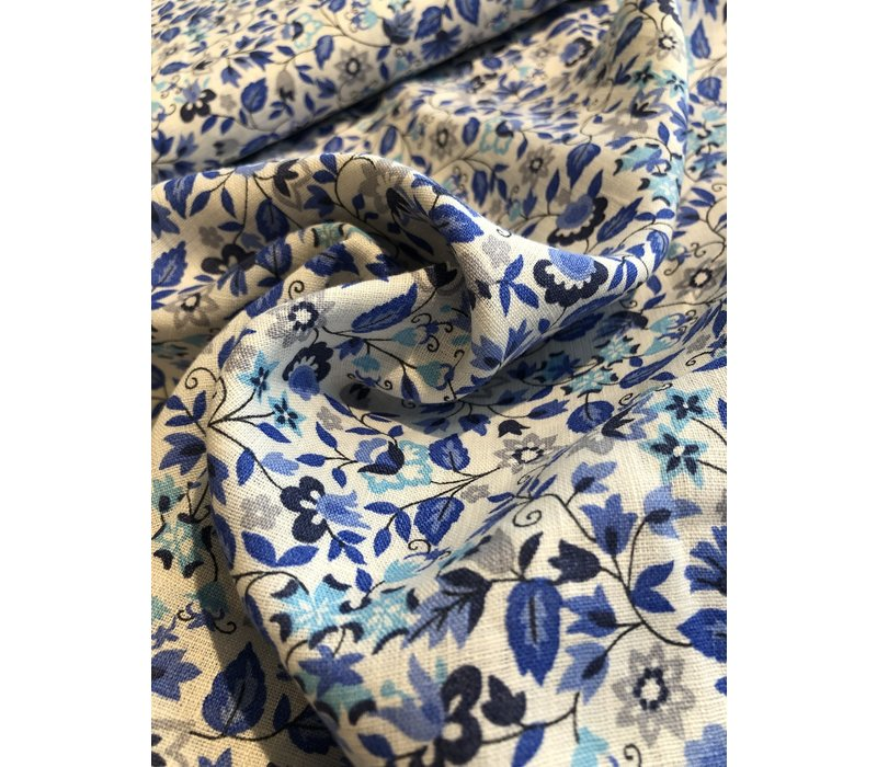 Washed Linen Blue flowers