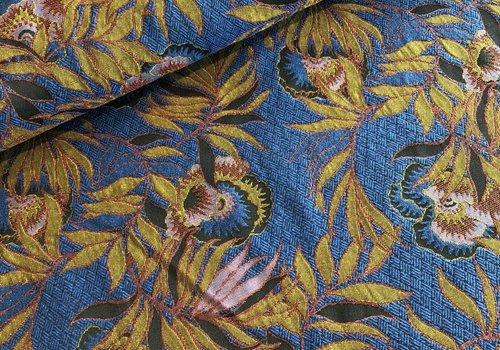De Stoffenkamer Geweven Stof Blue flowers