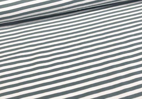 De Stoffenkamer Tricot Stripes white//sage