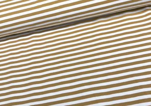 De Stoffenkamer Tricot Stripes white//oker