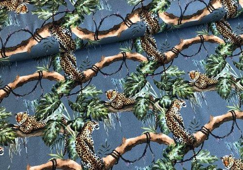 De Stoffenkamer Tricot midblue cheetah jungle
