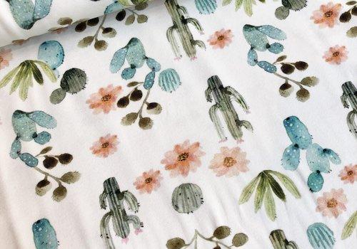 De Stoffenkamer Tricot ecru pastel cactus