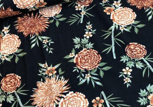 De Stoffenkamer Tricot black rusty flowers