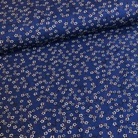 Tricot bright blue little flowers