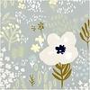 Rico Lawn Cotton Bluegrey flowers - metallic