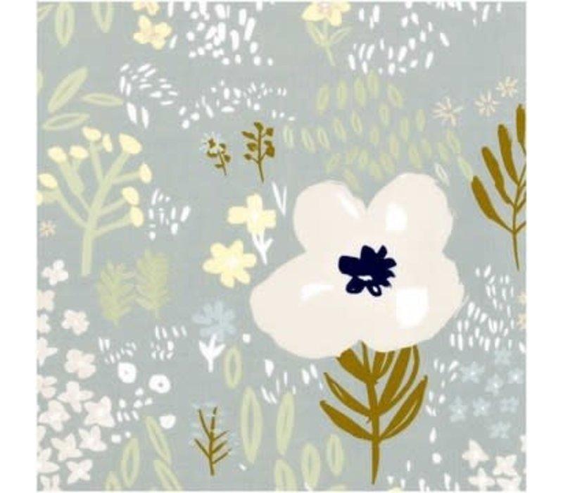 Lawn Cotton Bluegrey flowers - metallic