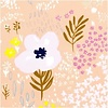 Rico Lawn Cotton Pink flowers - metallic
