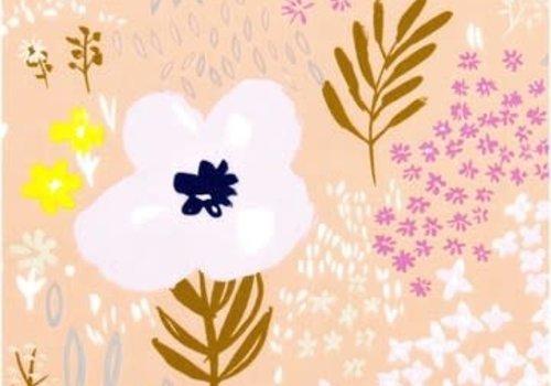 Rico Lawn Cotton Pink flowers - metallic