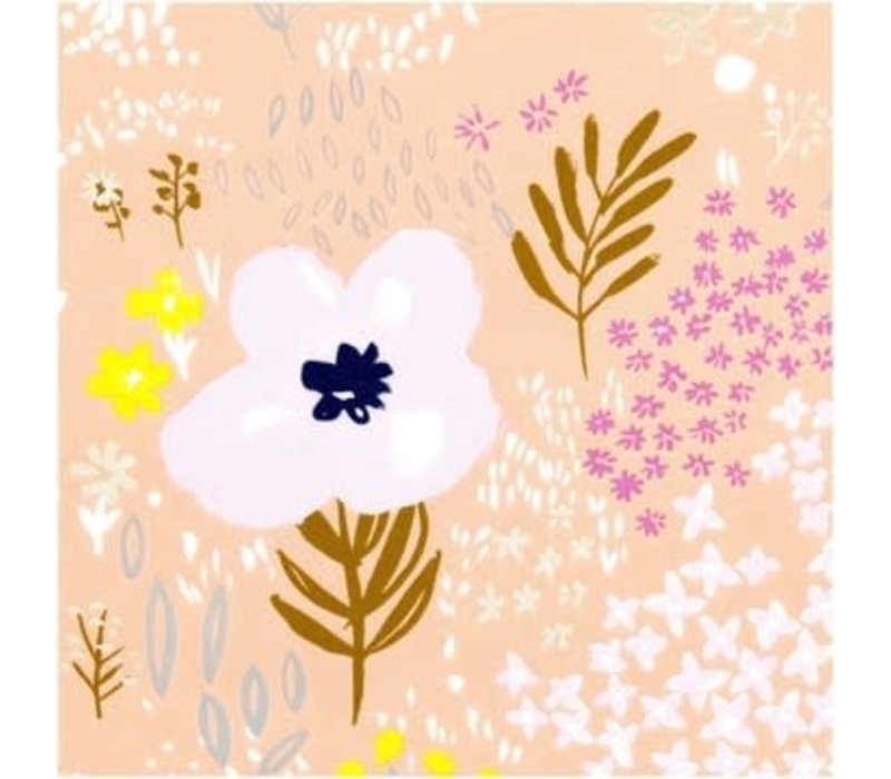 Lawn Cotton Pink flowers - metallic