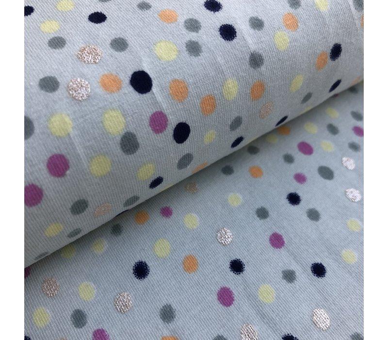 Tricot mint dots metallic