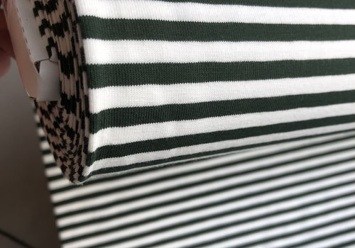 De Stoffenkamer Tricot Stripes white//green den