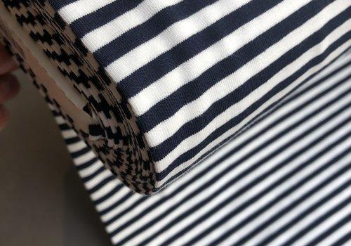 De Stoffenkamer Tricot Stripes white//navy