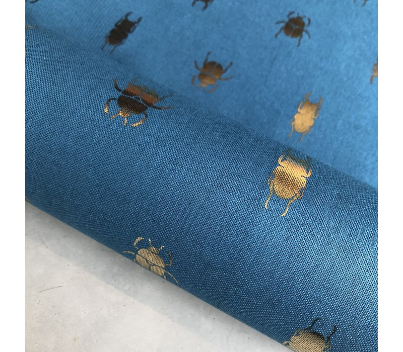 Canvas Petrolblue Bugs gold