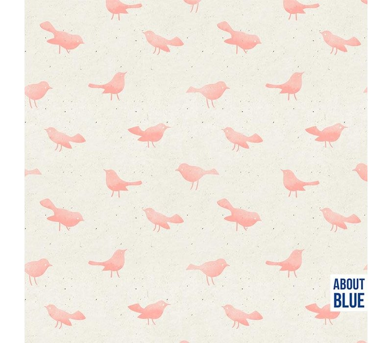 French Terry - sorbet pink birdy