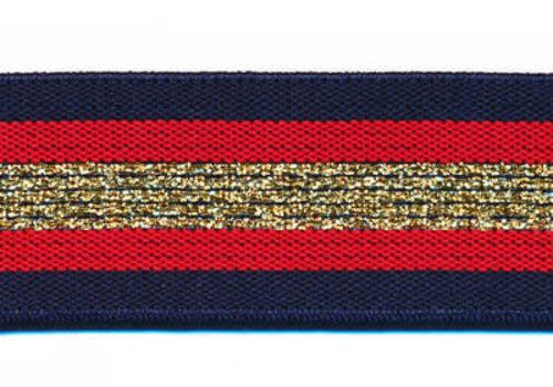 De Stoffenkamer Taille Elastiek 30mm Navy Gold