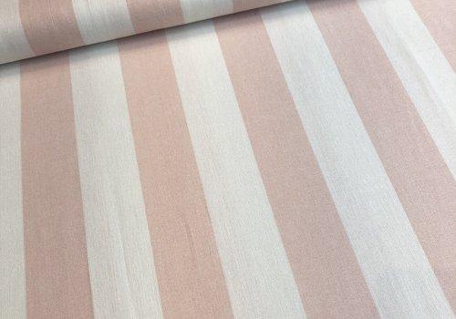 De Stoffenkamer Linen Mix Washed pink BIG stripes