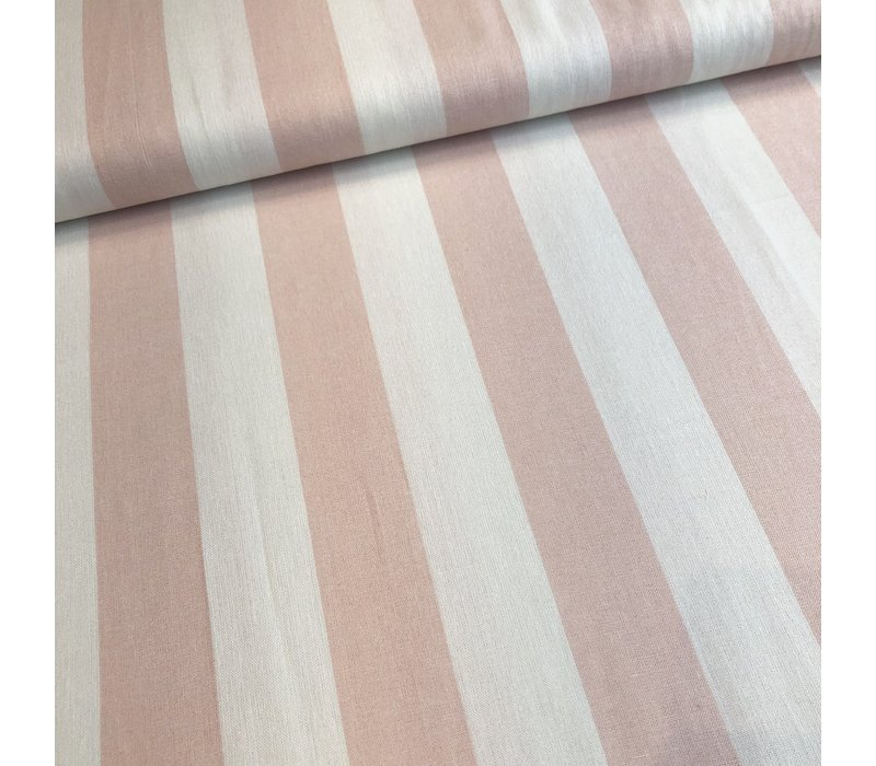 Linen Mix Washed pink BIG stripes