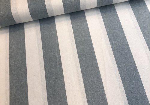 De Stoffenkamer Linen Mix Washed sage BIG stripes