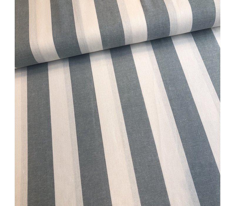 Linen Mix Washed sage BIG stripes