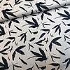 De Stoffenkamer Linen Mix Ecru navy leafs