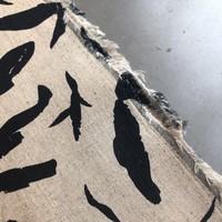 Linen Mix Ecru navy leafs