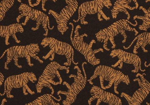 De Stoffenkamer Geweven jacquard Black Oker Tigers