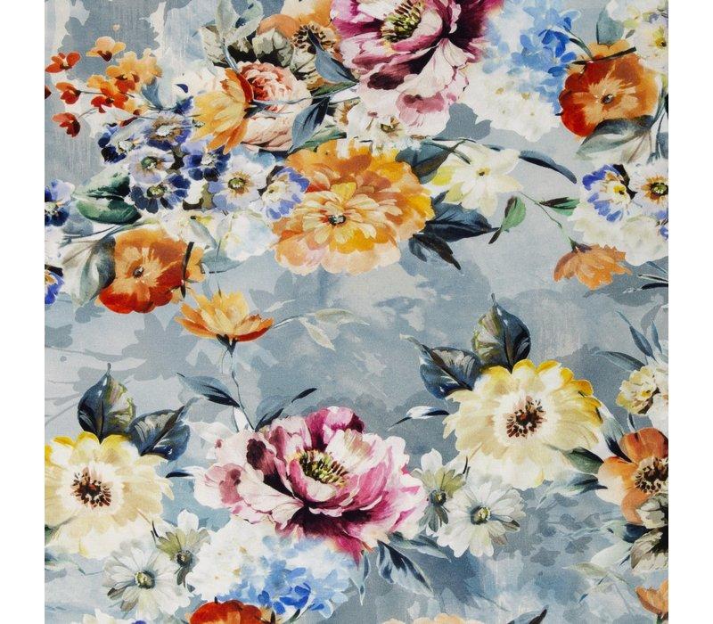 Tricot Flower field blue