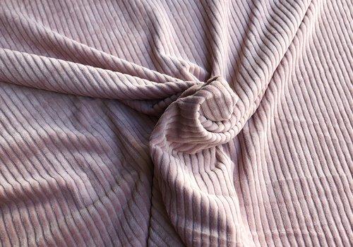 De Stoffenkamer Stretch rib Met Brede Ribbel soft pink