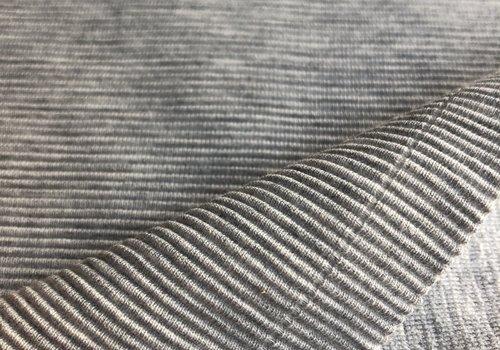 De Stoffenkamer Tricot relief lines grey melange