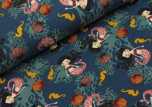 Megan Blue Fabrics Mermaids Denim Petrol