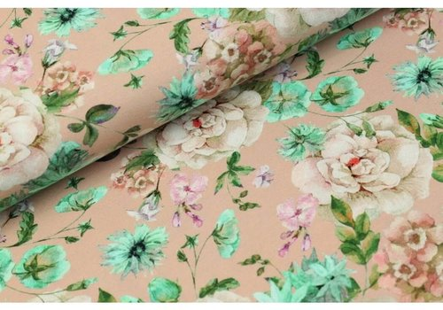 Megan Blue Fabrics Digital Flowers - old pink