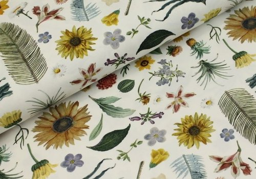 Megan Blue Fabrics Digital Flowers - white