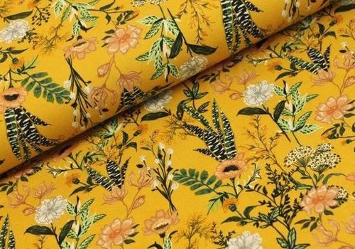 Megan Blue Fabrics Digital Flowers - Ocre