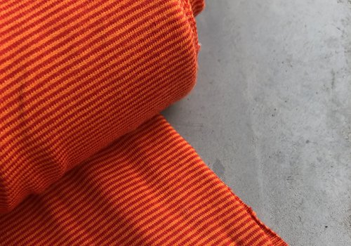De Stoffenkamer Tricot Small Stripes orange//red