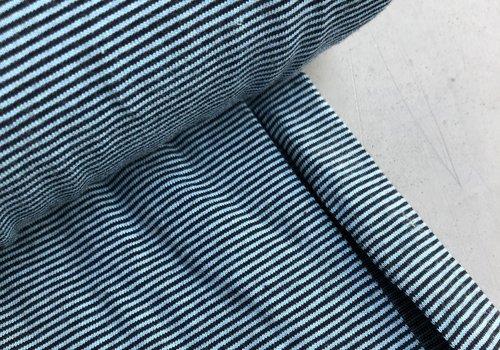 De Stoffenkamer Tricot Small Stripes lightblue//navy