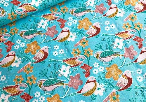De Stoffenkamer Cotton birdlife turq