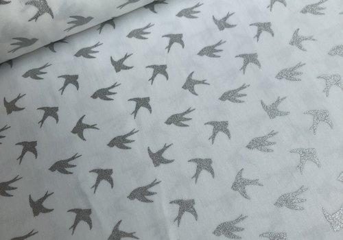 De Stoffenkamer Cotton birds metallic silver