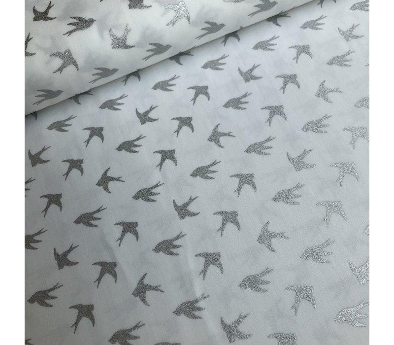Cotton birds metallic silver