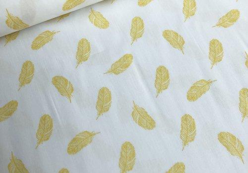 De Stoffenkamer Cotton feathers yellow
