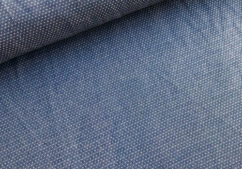 Robert Kaufman Chambray Katoen pin dots denimblue