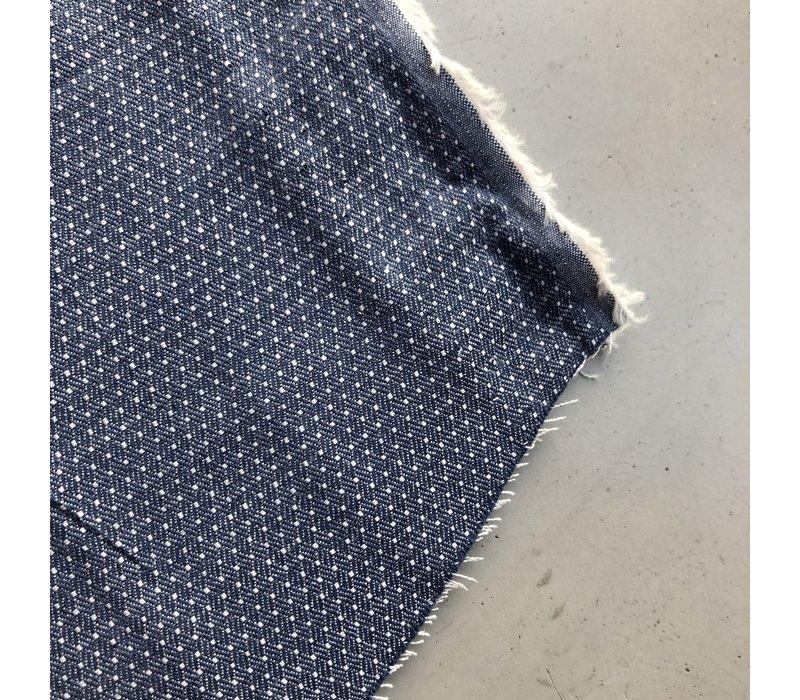 Chambray Katoen pin dots denimblue