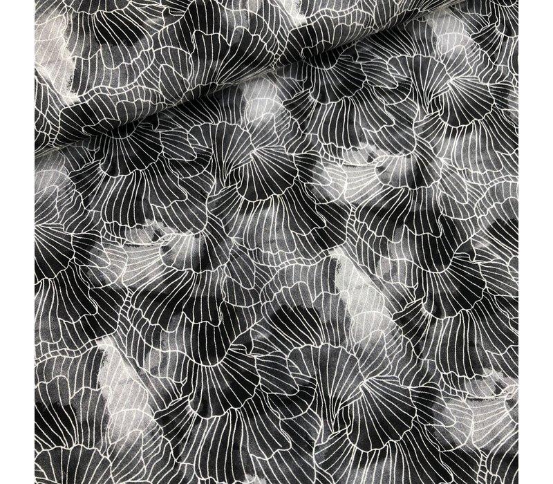 Soft Cotton Black Aquarel leafs