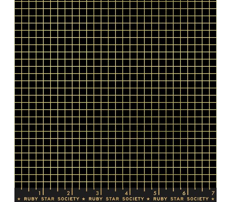 Cotton Ruby Star - grid metallic black