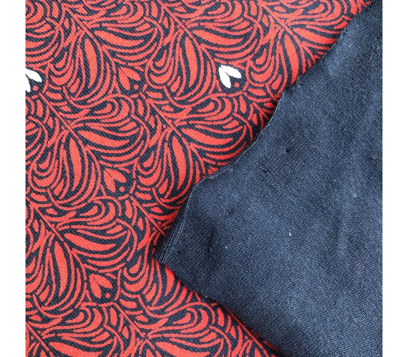 Tricot abstract navy and red