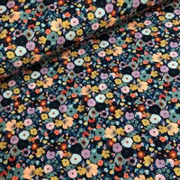 Tricot fall flowers blue