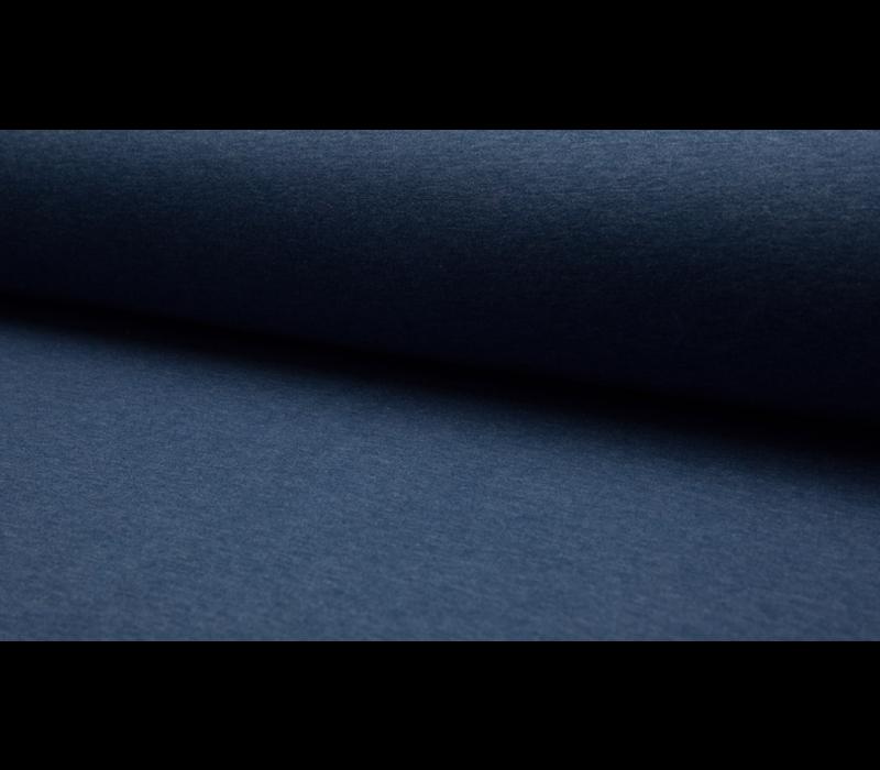 Effen Sweaterstof Dark Jeans Melange